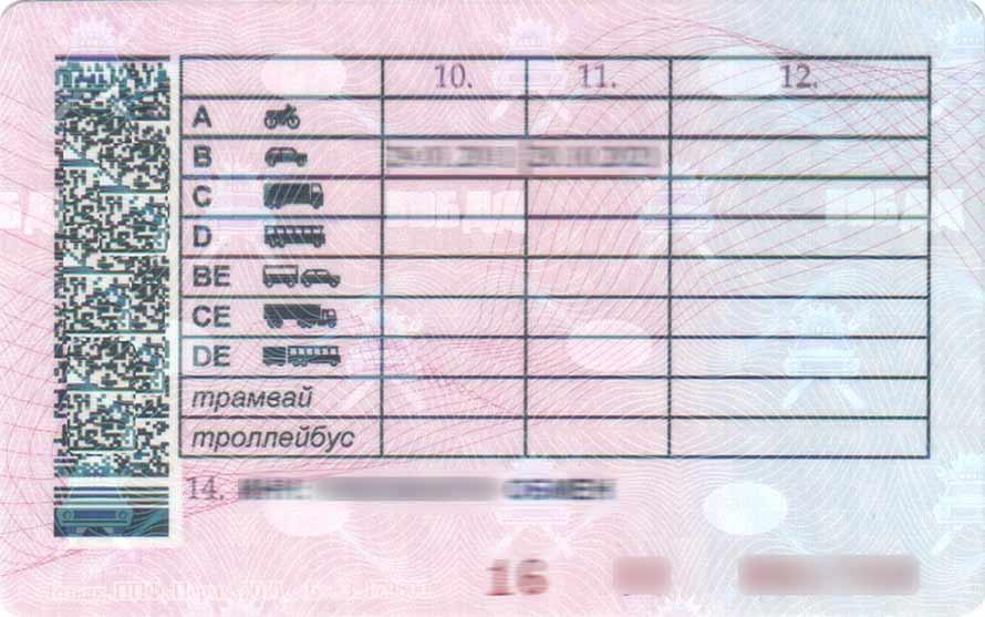 Фото водительского удостоверения оборотная сторона