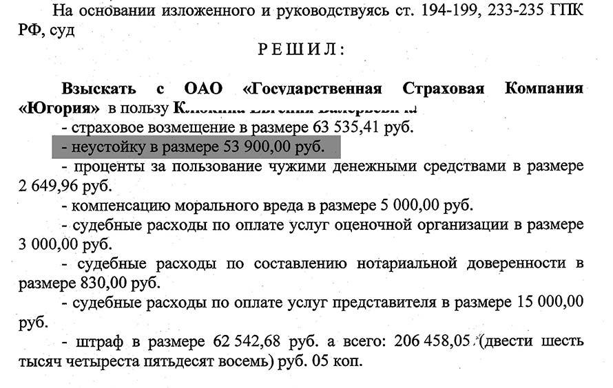 Пример положительного решения о выплате неустойки по ОСАГО