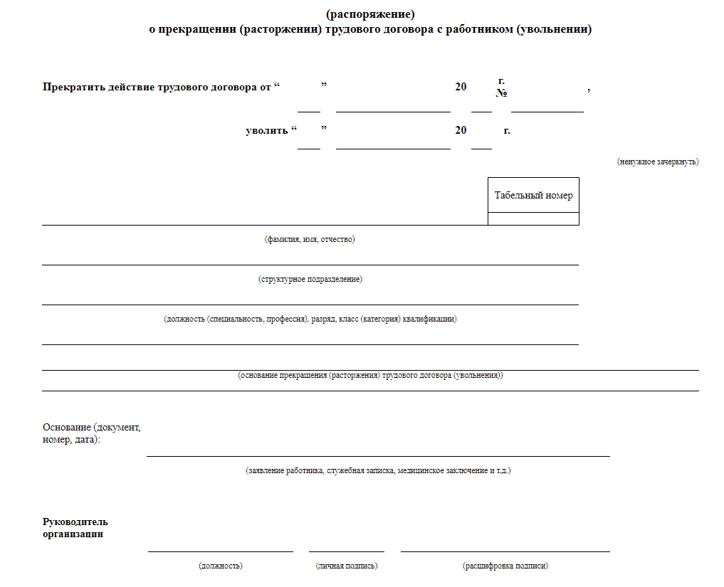 Приказ об увольнении в связи с истечением срока трудового договора