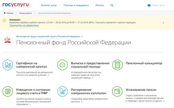 Пенсионный фонд РФ на сайте Госуслуги