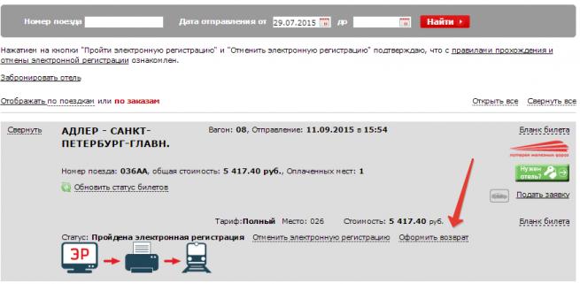 оформление возврата электронного билета РЖД